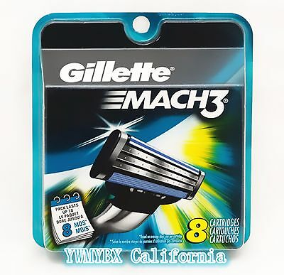 GILLETTE MACH3 Razor Blades 8 Cartridges, Original packages.#M001