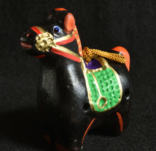 Japanese Old Clay Bell Dorei : design Black Horse