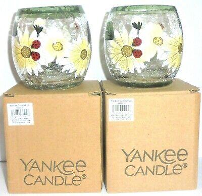 Yankee Candle 2X LADYBUG Crackle Glass Votive/Tea Light Holder NIB - FREE SHIP