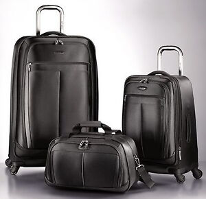 New Samsonite 3 pc Spinner Black Luggage Set 29