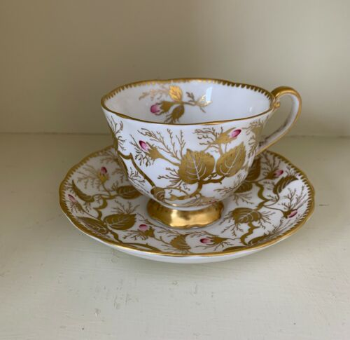ROYAL CHELSEA English Bone China Gold Vine Leaves and Blossoms Cup & Saucer