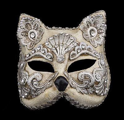 Mask Venice Face Cat Gatto Silver Paper Mache Macrame 2490 V15