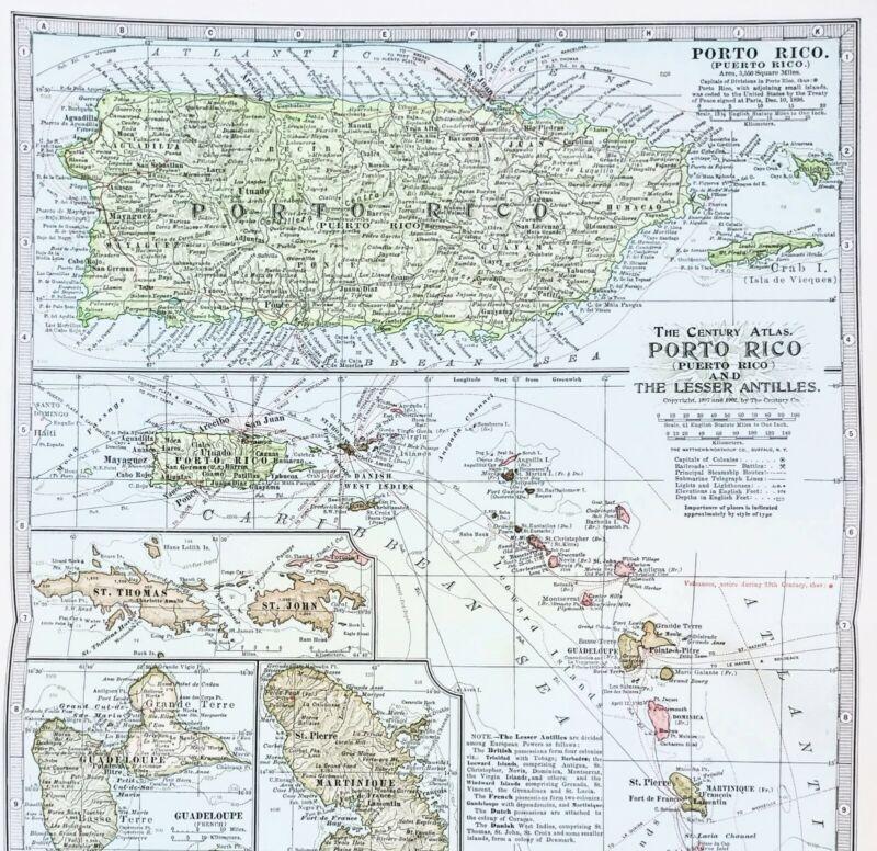 1906 Porto Rico Map Lesser Antilles St Thomas Barbados Dominica St John EXRARE