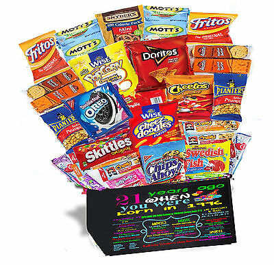 21st Birthday Gift Basket Box 30 PIECES Snack Care Package 1996 Retro Nostalgic