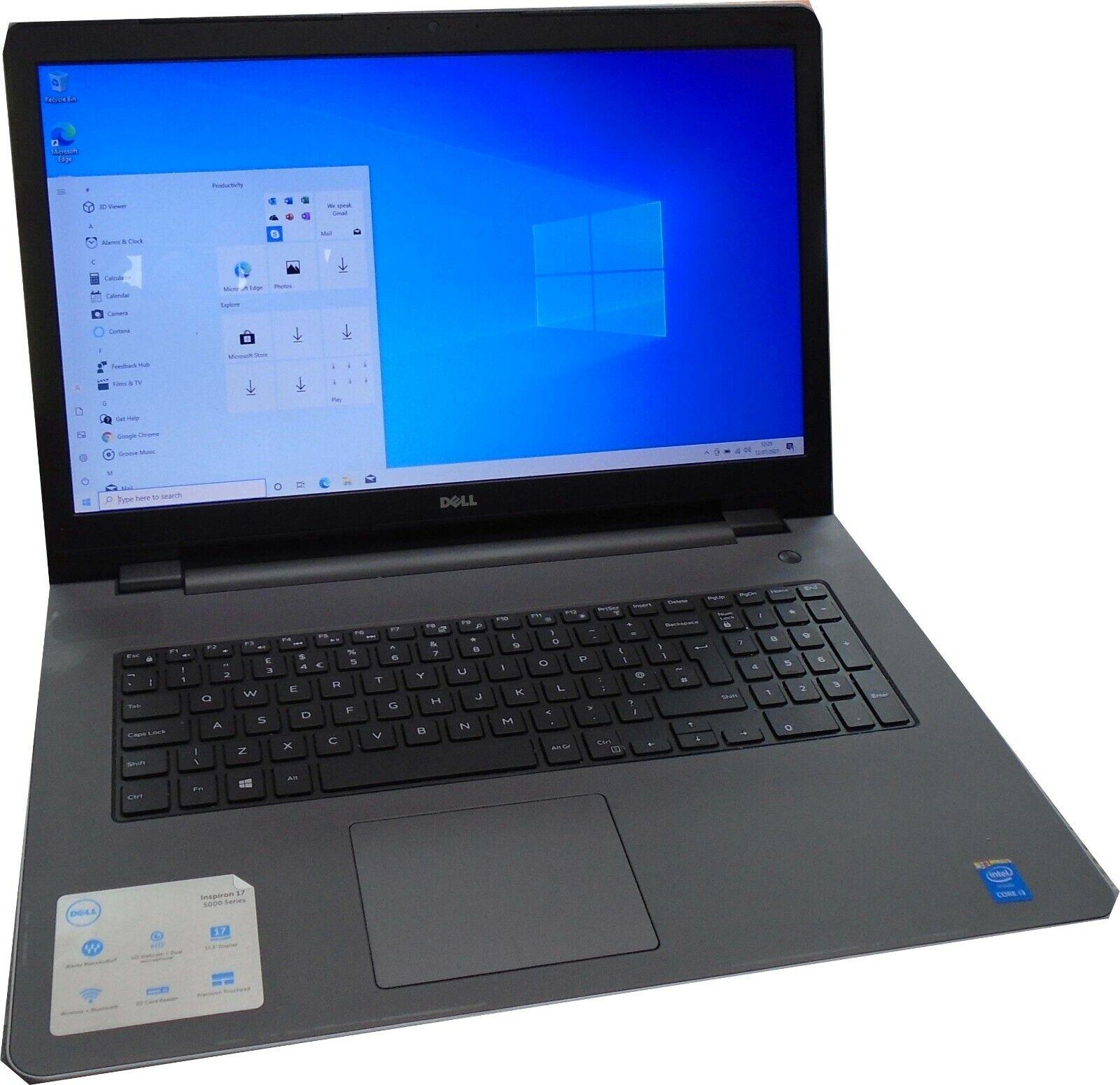 "Laptop Windows - 17""  laptop Dell Inspiron 5758 Intel i3 8gB RAM 120GB SSD Windows 10 Home"