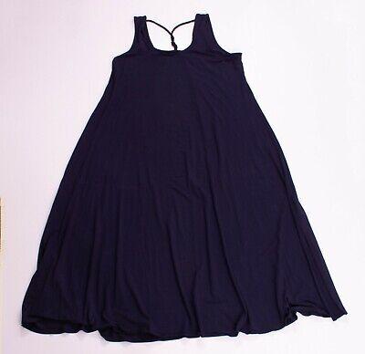 Eileen Fisher Blue Stretch Knit Sleeveless Twist Back Midi Dress L Large *READ*