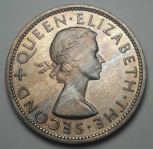 1953 NEW ZEALAND 1/2 CROWN BU UNC BEAUTIFUL COLOR TONED COIN