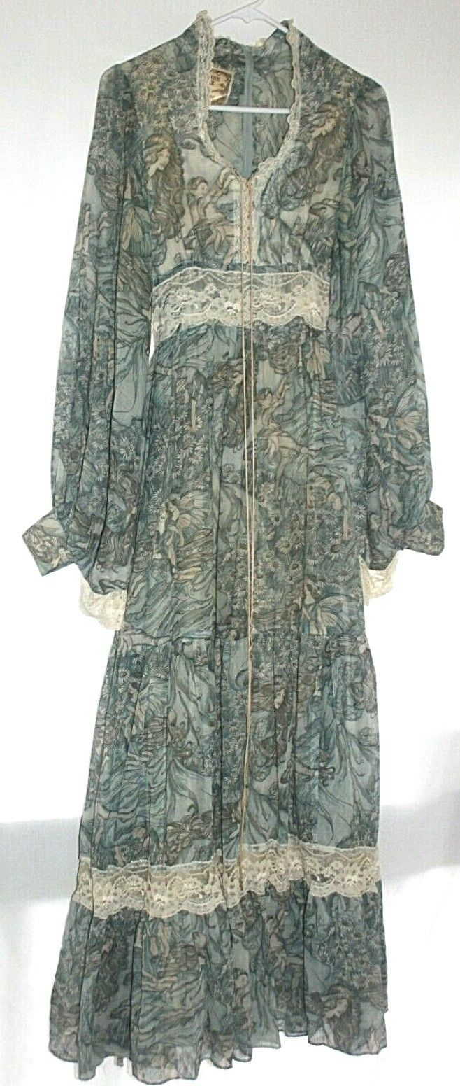 1970s Gunne Sax Blue Fairie / Fairy Corset Dress w/ Angel Sleeves