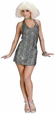 70's-80's Disco Mini Dress 2Pc Slv Metallic Halter Style Costume Dress & Choker