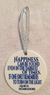 Happiness Can Be Found Quote~Porcelain Christmas Ornament~Albus Dumbledore~Gift ()