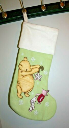"""Classic Winnie The Pooh and Piglet Embr.Christmas Stocking Disney Green 20""""Tall"""