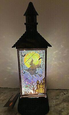 "12"" HALLOWEEN Water Snow globe SWIRLING Light Witch Full Moon Haunted House Bat"