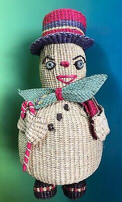 Antique Snowman Frosty BASKET Woven Coin Bank Piggy Figurine Folk Art Christmas
