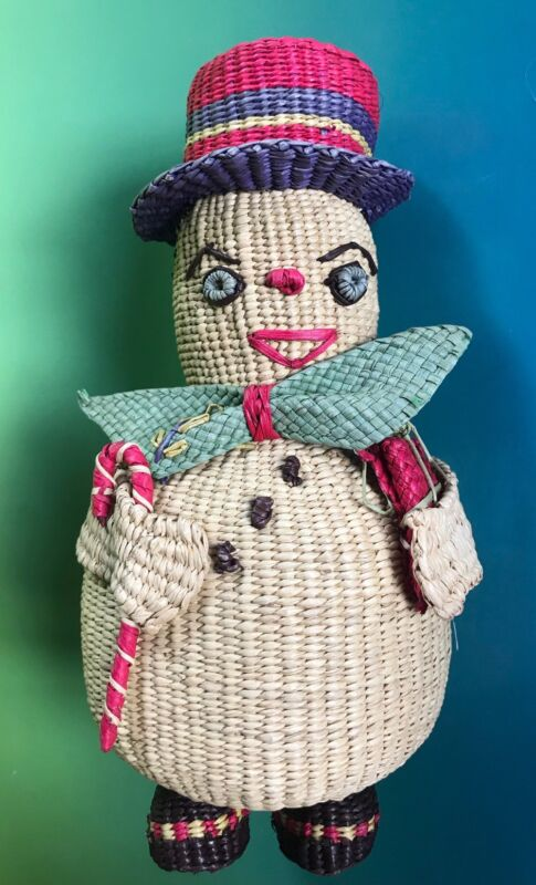 Vintage Snowman Frosty BASKET Woven Coin Bank Piggy Figurine Folk Art Christmas