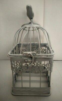 Jaula pequeña pájaro metal decoración look vintage boda comunion celebracion