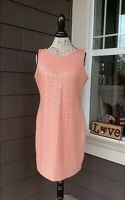 H & M Salmon Pink Sequined Sleeveless Dress *Size Large
