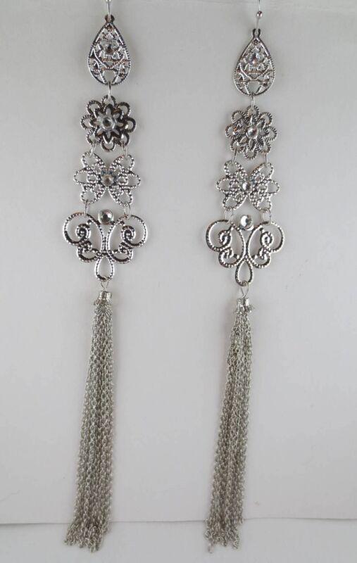 Vintage Style Dangling Filigree Silvertone Rhinestone Tassel Earrings 6 Inches