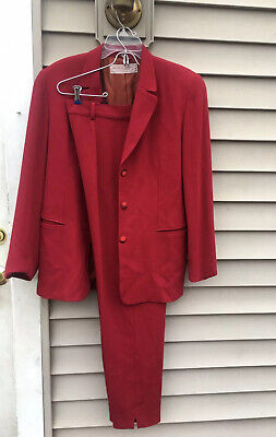 Michele Larive Collections Wool Red Pant Suit Size 14