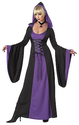 Adult Sexy Deluxe Purple Hooded Robe Vampire Vampiress Witch Costume  (Purple Hooded Robe Kostüm)
