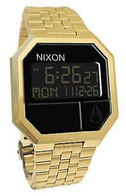 Nixon A158502 Re-Run All Gold Black Digital Dial Steel Bracelet Men Watch NEW