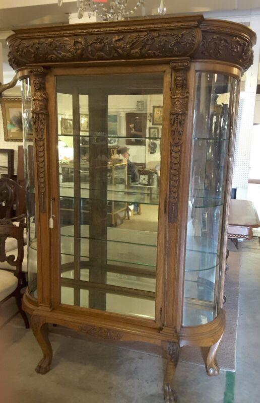 Antique Victorian Oak China Closet With Carved Pegasus Horses