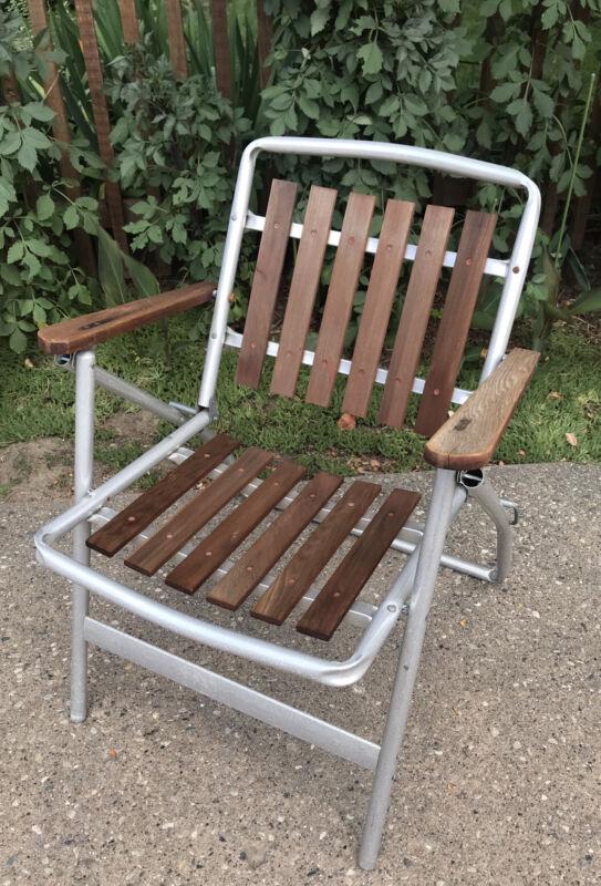 VTG Aluminum Natural Red Wood Cedar Folding Lawn Chair Wooden Slats MCM Armrests