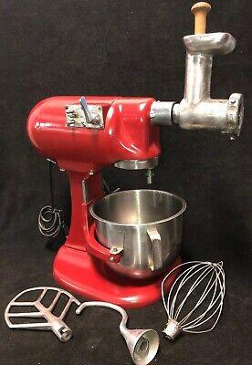 Vintage Hobart N50 5 Qt Countertop Mixer Wss Bowlwhiskpaddlehook Grinder