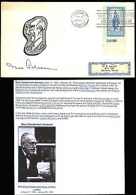 Dean Acheson  Secretary Of State  Signed Cachet Cover By Cairo Sturgill Bt3020
