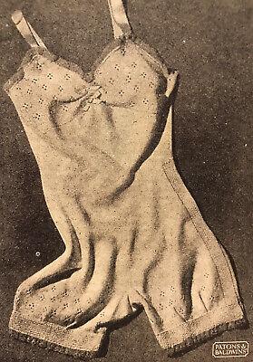 1940s Lingerie Lace Boy Leg Bodysuit Underwear Patons Knitting Pattern PDF