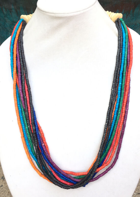 African Trade Multistrand Necklace Ethnic Tribal Multicolor Bovine Heishi Bead