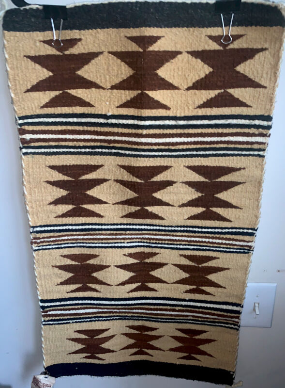 Old Vintage Navajo Indian Textile Weaving Rug Tapestry Or Saddle Blanket W/Tags
