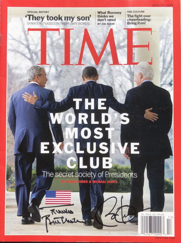 PSA/DNA Presidents BARACK OBAMA & BILL CLINTON Signed Autographed TIME Magazine