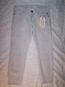 CURRENT-ELLIOTT-Womens-Jeans-Crop-Skinny-Natural-Phython-Size-27-Sample-NWT