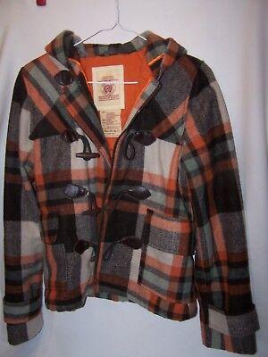 (Vintage Hollister Wool Blend Jacket Hooded Toggle Full Zipper Plaid Women Large)