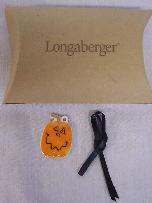 2004 LONGABERGER CERAMIC SMALL SMILING HAPPY PUMPKIN TIE-ON, NEW IN BOX