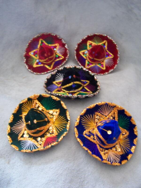 SET OF 5 MEXICAN MINI CHARRO HATS,PARTY FAVORS,DECORATIONS,SOMBRERO,MARIACHI