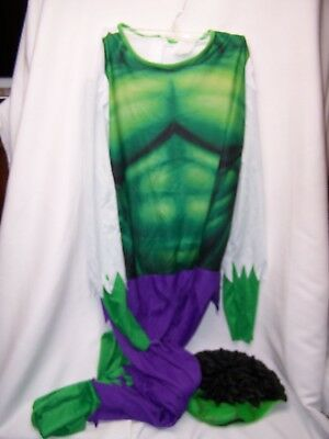 Incredible Hulk Child Halloween Dress Up Costume Jumpsuit Only Size 18 HAIR Mask