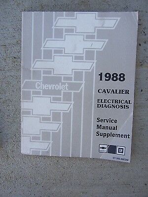 1988 Chevrolet Cavalier Electrical Diagnosis Service Manual Supplement Auto  R