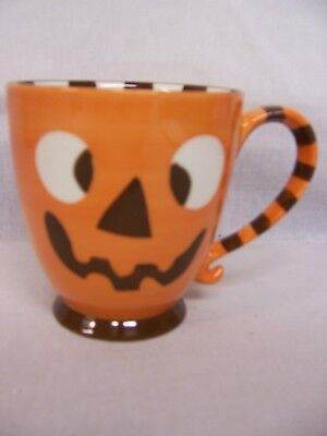 STARBUCKS 2007 HALLOWEEN FUNNY SCARY FACE ORANGE & BROWN STRIPES 18 OZ MUG (Funny Halloween Advertising)