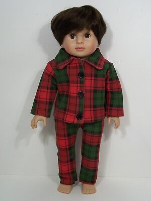 RED & GREEN Christmas Plaid Pajamas Pjs Doll Clothes For 18