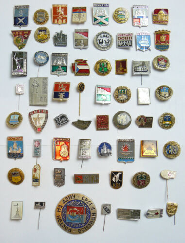 Vintage Soviet Russian Lot 50 Pins Cities Towns Heraldry USSR Socialism