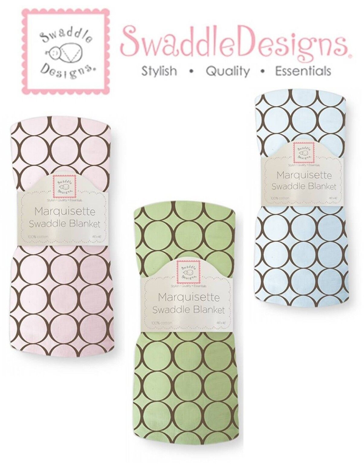 SwaddleDesigns BROWN MOD CIRCLES Marquisette Swaddle Blanket