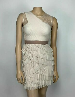 BCBG Maxazria Tulle Cocktail Dress French Cream Lace Top Mini Tiered Size 0