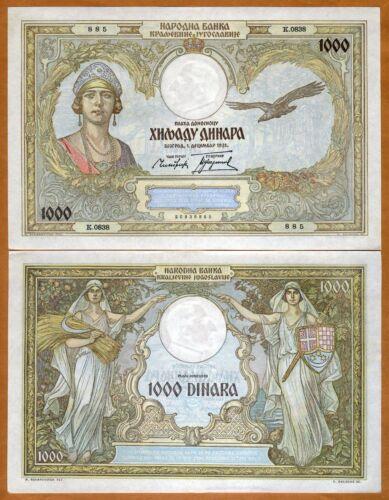 Yugoslavia, Kingdom 1000 Dinara, 1931, P-29, Queen Marie aUNC > Large Note