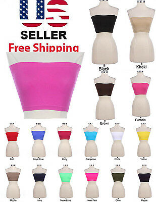 Women's Basic Stretch Plain BANDEAU Strapless  TUBE BRA Top One Size Only $4.69