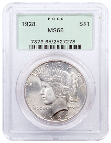 1928 Silver Peace Dollar Pcgs Ms65 First Generation Pcgs Holder Sku49485