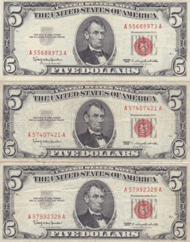 KAPPYSWHOLESALE  ID11328 THREE SERIES 1963  $5.00 RED SEAL US NOTES CIRCULATED