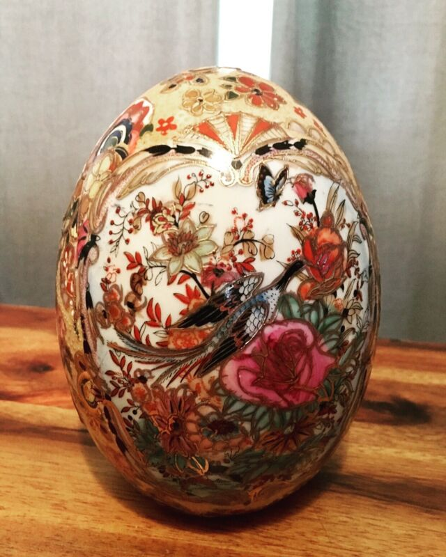 """Vintage Hand Painted Decorated Peacock Butterfly Chinese 5 1/2"""" Moriage Egg"""