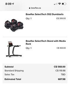 Bowflex adjustable dumbbells with stand