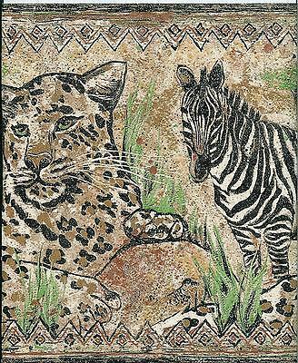 JUNGLE LEOPARDS ZEBRAS WALLPAPER - Jungle Border